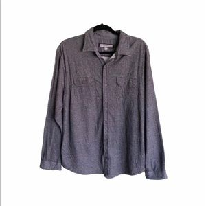 PD&C Men's Casual Collared Button Down Shirt Gray